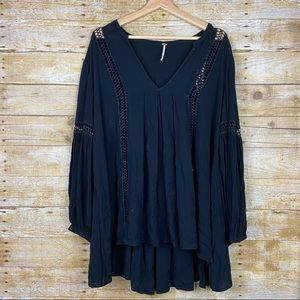 Free People Babydoll Lace Inset Tunic Dress Medium